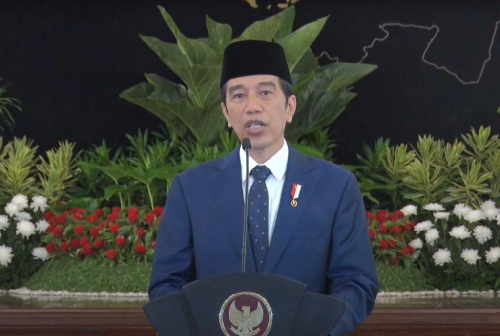 Presiden Jokowi dalam sambutannya pada Sidang Pleno Istimewa Laporan Tahunan Mahkamah Agung Tahun 2020, secara virtual dari Istana Negara, Jakarta, Rabu (17/2/2020). (Sumber: Tangkapan Layar YouTube Sekretariat Presiden)