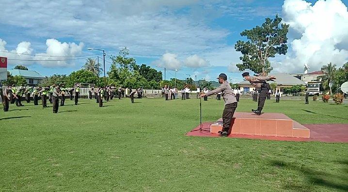 Tingkatkan Daya Tahan Tubuh, Personel Polres Kepulauan Talaud Olahraga Dan Periksa Suhu Tubuh